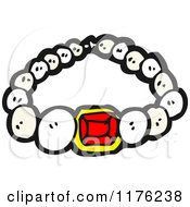 Cartoon Of A Pearl And Ruby Necklace Royalty Free Vector Illustration by lineartestpilot