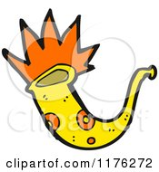 Cartoon Of A Yellow Saxophone Royalty Free Vector Illustration