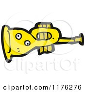 Cartoon Of A Yellow Trumpet Royalty Free Vector Illustration