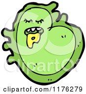 Cartoon Of A Green Amoeba Royalty Free Vector Illustration