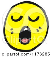Cartoon Of A Yellow Emoticon Yawning Or Singing Royalty Free Vector Illustration