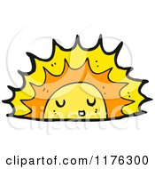 Cartoon Of The Sun Setting Or Rising Royalty Free Vector Illustration by lineartestpilot