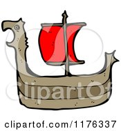 Cartoon Of A Viking Ship Royalty Free Vector Illustration