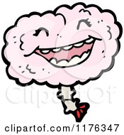 Cartoon Of A Pink Smiling Brain Royalty Free Vector Illustration
