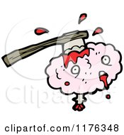 Cartoon Of A Ax In A Pink Brain Royalty Free Vector Illustration by lineartestpilot