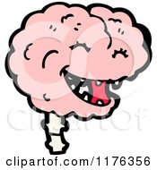 Cartoon Of A Smiling Pink Brain Royalty Free Vector Illustration