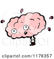 Cartoon Of A Worried Pink Brain Royalty Free Vector Illustration