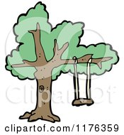 Cartoon Of A Tree With A Swing Royalty Free Vector Illustration by lineartestpilot