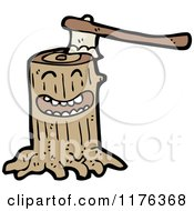 Cartoon Of A Tree Stump With An Ax Royalty Free Vector Illustration