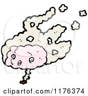 Cartoon Of A Pink Brain Royalty Free Vector Illustration