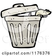 Cartoon Of A Trash Can With A Rat Crawling Out Royalty Free Vector Illustration