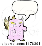 Cartoon Of A Pink Monster With Wings And A Conversation Bubble Royalty Free Vector Illustration