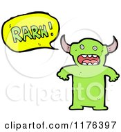 Cartoon Of A Green Monster Horned With A Conversation Bubble Royalty Free Vector Illustration