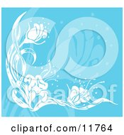 Flower Background In Blue And White Clipart Illustration