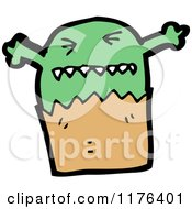 Cartoon Of A Green Monster In A Bag Royalty Free Vector Illustration