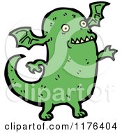 Cartoon Of A Green Monster With Wings Royalty Free Vector Illustration