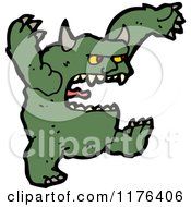 Cartoon Of A Green Horned Monster Royalty Free Vector Illustration