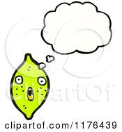 Cartoon Of A Lime With A Thought Bubble Royalty Free Vector Illustration by lineartestpilot