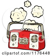 Cartoon Of A Smoking Boom Box Royalty Free Vector Illustration by lineartestpilot