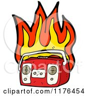 Cartoon Of A Flaming Boom Box Royalty Free Vector Illustration by lineartestpilot