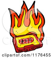 Cartoon Of A Flaming Cassette Tape Royalty Free Vector Illustration