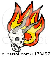 Cartoon Of A Horned Skull With Flames Royalty Free Vector Illustration