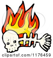 Cartoon Of A Skull With Fish Skeleton And Flames Royalty Free Vector Illustration by lineartestpilot