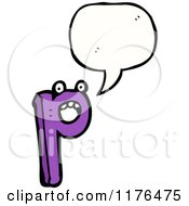Cartoon Of The Alphabet Letter P With A Conversation Bubble Royalty Free Vector Illustration