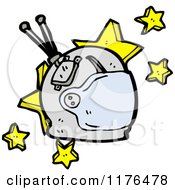 Cartoon Of An Astronaut Helmet And Stars Royalty Free Vector Illustration by lineartestpilot
