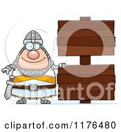 Cartoon Of A Happy Knight By Wooden Signs Royalty Free Vector Clipart
