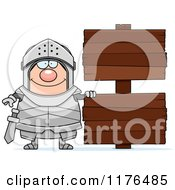 Cartoon Of A Happy Armoured Knight By Wooden Signs Royalty Free Vector Clipart