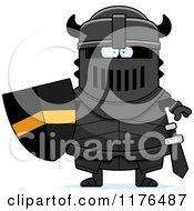 Cartoon Of A Tough Armoured Black Knight Royalty Free Vector Clipart