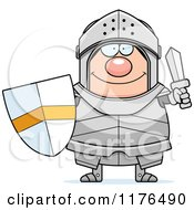 Cartoon Of A Happy Armoured Knight Holding A Sword And Shield Royalty Free Vector Clipart