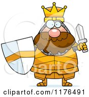 Cartoon Of A Happy King Knight Holding A Sword And Shield Royalty Free Vector Clipart