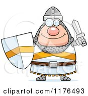 Cartoon Of A Happy Knight Holding A Sword And Shield Royalty Free Vector Clipart