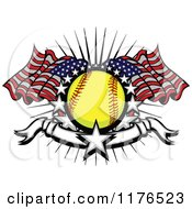 Clipart Of A Softball With American Flags Stars And A Banner Royalty Free Vector Illustration by Chromaco #COLLC1176523-0173