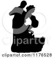 Clipart Of A Black Silhouetted Wedding Couple Dancing 2 Royalty Free Vector Illustration by Pams Clipart