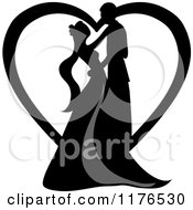 Clipart Of A Black Silhouetted Wedding Couple Dancing In Front Of A Heart Royalty Free Vector Illustration