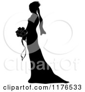 Clipart Of A Silhouetted Bride In Profile Holding A Wedding Bouquet Royalty Free Vector Illustration