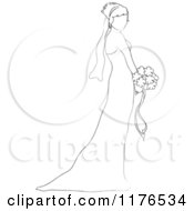 Sketched Bride In Profile Holding A Wedding Bouquet