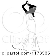 Clipart Of A Black And White Bride In A Mermaid Gown Holding Her Arms Above Her Head Royalty Free Vector Illustration