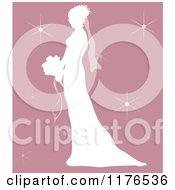 Clipart Of A Silhouetted Bride In Profile Holding A Wedding Bouquet Over Pink With Sparkles Royalty Free Vector Illustration