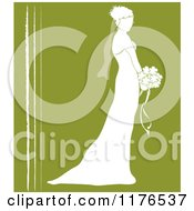 Silhouetted Bride In Profile Holding A Wedding Bouquet Over Green With White Lines