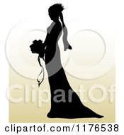 Silhouetted Bride In Profile Holding A Wedding Bouquet Over Gradient
