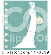 Clipart Of A Silhouetted Bride In Profile Holding A Wedding Bouquet Over Turquoise With Daisies Royalty Free Vector Illustration