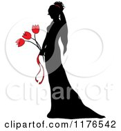 Clipart Of A Black Silhouetted Bride Holding A Red Tulip Wedding Bouquet Royalty Free Vector Illustration