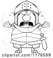 Cartoon Of A Black And White Screaming Armoured Knight Royalty Free Vector Clipart