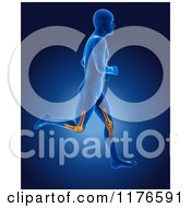 Clipart Of A 3d Xray Man Running With Glowing Knee Joints Royalty Free CGI Illustration
