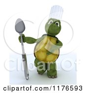 Clipart Of A 3d Tortoise Chef Presenting A Spoon Royalty Free CGI Illustration