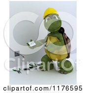 Clipart Of A 3d Tortoise Electrician Worker Working On A Socket 3 Royalty Free CGI Illustration